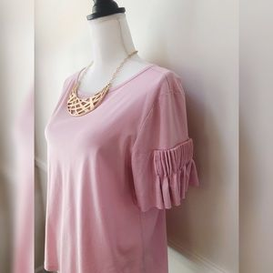Gianni Binni pink top with pleated sleeves